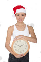 asian women in a Santa's hat with a clock