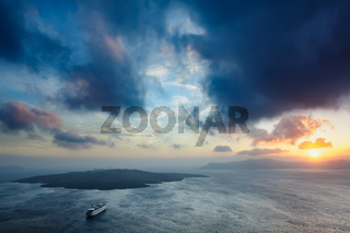 Sunset at Santorini, Greece. View to caldera sea.