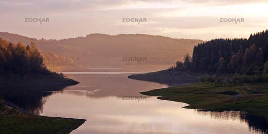 reservoir Grosse Dhuenntalsperre, Wermelskirchen, North Rhine-Westphalia, Germany, Europe