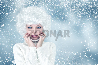 Snow winter fashion woman portrait