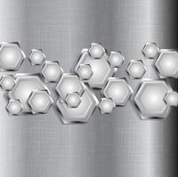 Abstract tech grey background with metal hexagons