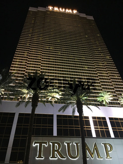 Exterior shot of Trump International Hotel Las Vegas at night