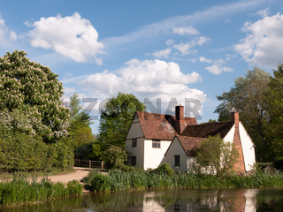 Willy Lott's Cottage outside in flatford mill in constable country old and famous location building from a painting on a summer afternoon with no people