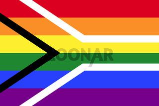 Gay Pride Regenbogenfahne von Südafrika