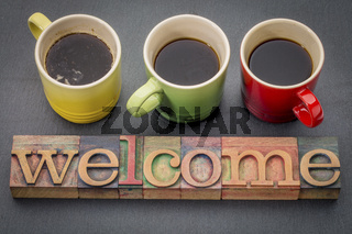 welcome sign in vintage wood type