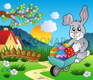 Meadow with bunny and wheelbarrow - color illustration.
