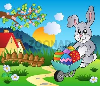 Meadow with bunny and wheelbarrow - color illustration.