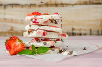Homemade healthy frozen strawberry yogurt bark.