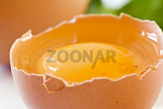 Raw broken egg as closeup on white background