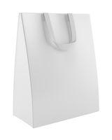 single blank shopping bag isolated on white background