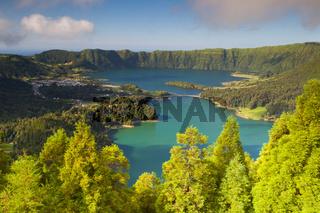 Lake of Sete Cidades on Azores, Famous caldera in Sao Miguel