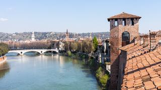 view of Verona with castelvecchio castle