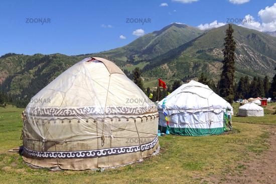 Yurt camp in Dzhety Oguz valley near Karakol, Terskej Alatoo Mountains, Kyrgyzstan