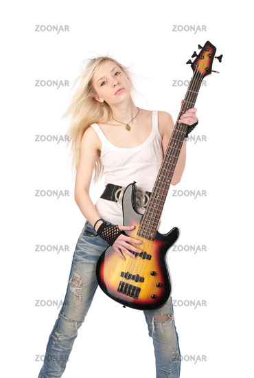 Young blond woman with rock guitar