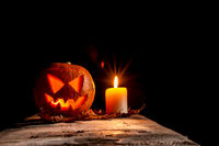 Halloween pumpkin and candle
