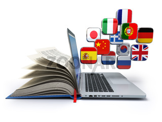 E-learning or online translator concept. Learning languages online. Laptop, book and flags.