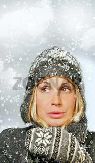 Young woman with snowy background