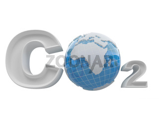 CO2. Formula on white isolated background