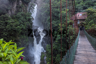 Devil's Cauldron waterfall (spanish: Pailon del Diablo) - Mountain river and fall in the Andes. Banos. Ecuador