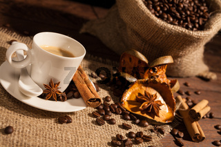 Close-up of coffee cup with star anise and cinnamon