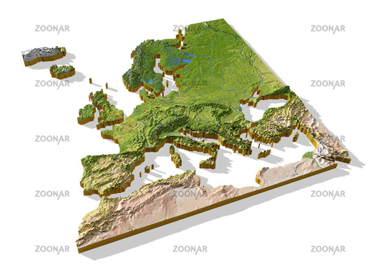 Europe, 3D relief map cut-out.