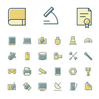 Thin line icons for science and technology