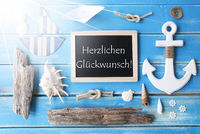 Sunny Nautic Chalkboard, Glueckwunsch Means Congratulations