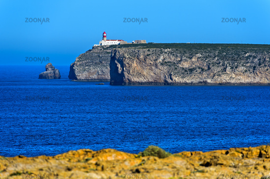 Lighthouse on the cliff of Cape St. Vincent, Cabo de São Vicente, Sagres, Algarve, Portugal
