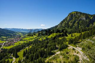 Ostrachtal, Bad Hindelang und Hirschberg. 1456m, Oberallgäu, Allgäu, Schwaben, Bayern, Deutschland, Europa