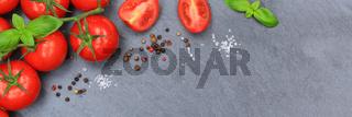 Tomaten Tomate rot Gemüse Schiefertafel Banner Textfreiraum von oben
