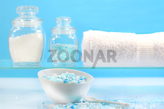 Bath salts with towel