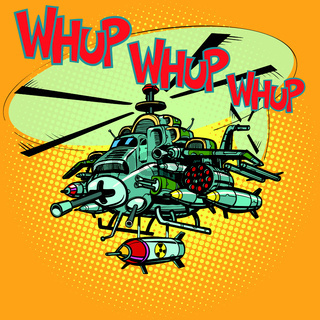 assault military helicopter with missiles
