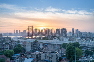 wuhan bridge cityscape