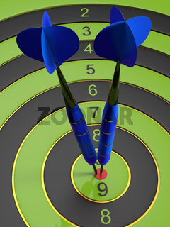 Two deep blue darts hitting the bullseye aim. concept of success 3d illustration