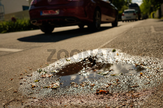 Pfütze auf einem Gehweg mit Laub im Wasser
