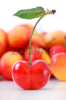 Fresh ripe cherries isolated on white