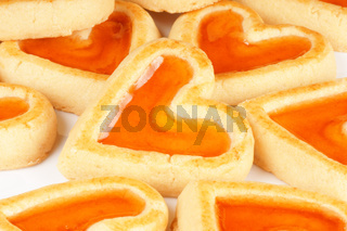 Heart shaped apricot jam cookies