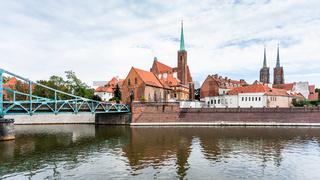 Tumski Bridge and Collegiate Church in Wroclaw