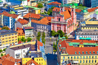 Ljubljana city center and Presern square aerial view
