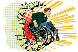 Businessman in a wheelchair. Disabilities and health. Barrier-fr