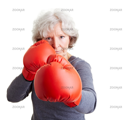 Old woman with boxing gloves