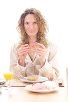 young woman at breakfast