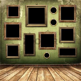 Old room, grunge industrial interior, worn  surface, wooden frames