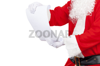 Father christmas checking his santa list on a pure white background