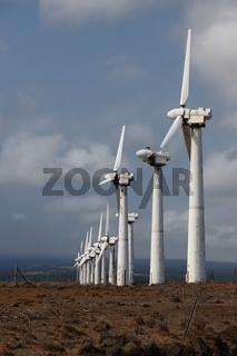 Rusty, run-down wind power station