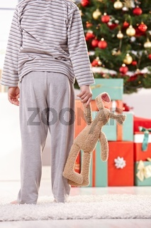 Little boy and toy bunny at christmas