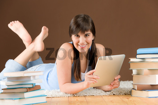 Touch screen computer - woman teenager study