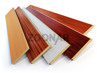 Parquet o laminate wooden planks of the different colors on white background.