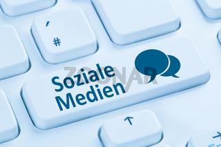Soziale Medien soziales Netzwerk Freundschaft Kontakte Internet blau Computer