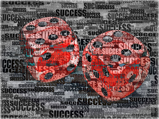 Dice on background frow words success. 3d